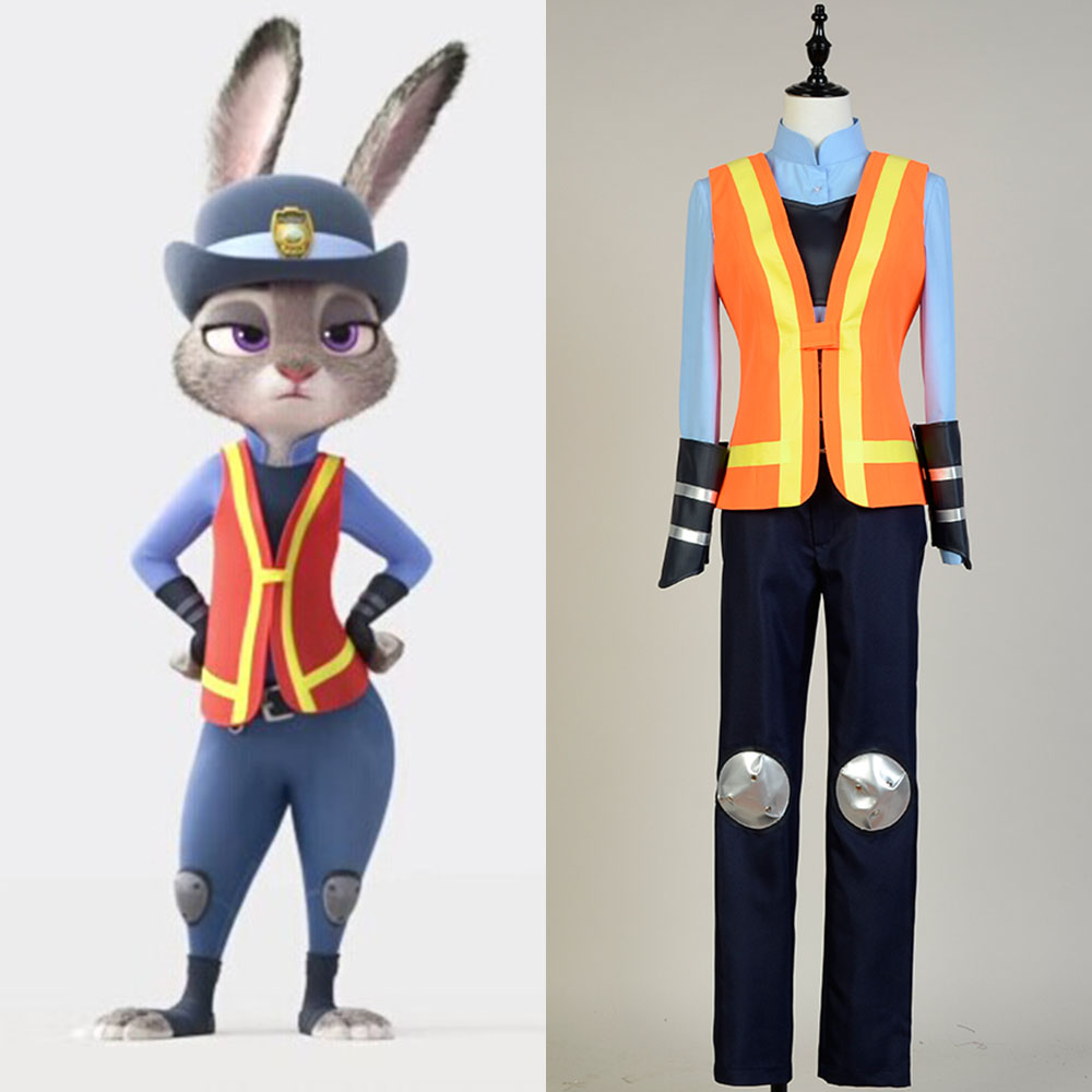 Hot Anime Zootopia Rabbit Judy Traffic Uniform Cosplay Halloween Full Set Uniform Adult Men Women costume