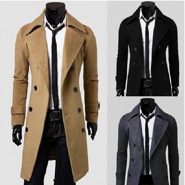 4d63fb8e10449 2015 otoño invierno hombre largo breasted doble de lana chaqueta de tela  moda ocio abrigo de