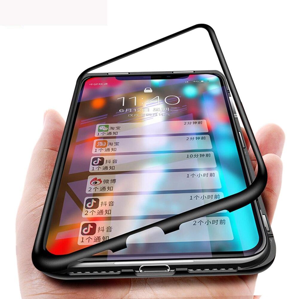 Adsorção magnética Caso de Metal Para iPhone XS Max XR XS Híbrido Moldura de Alumínio + Vidro Temperado Tampa Traseira Para iPhone XS XR
