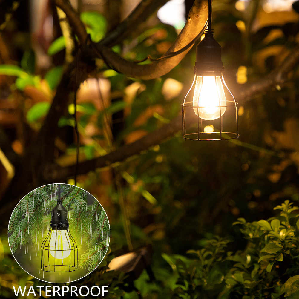 Ousam Led Solar Light Chandelier Outdoor Hanging Light 3 Meters Cord Solar Bulb Outdoor Hanging Solar Garden Light