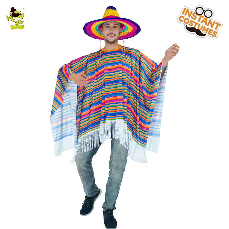 Mexican Cape Rainbow Color Striped Costume Adult   Costumes for Men Party Cosplay Clothing