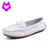 Wolf Who 2017 Summer Loafers Cut Out Women Genuine Leather Shoes Slip On Shoes For Woman