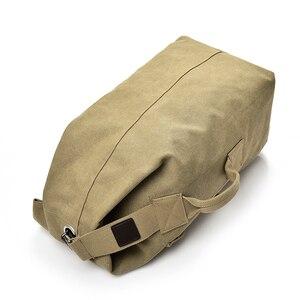 Image 3 - 대용량 배낭 남자 여행 가방 등산 배낭 남자 짐 캔버스 양동이 어깨 가방 남자 배낭