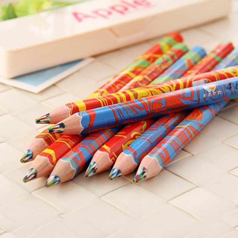 חמוד אמנות צבעוני עיפרון 4 ב 1 צבעים עץ עפרונות עבור ציור גרפיטי עט ילדים עפרון סמן עטי משרד בית הספר ספקי