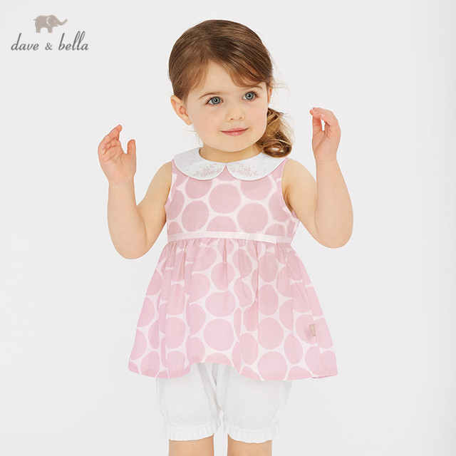 66f353bbc475 DBJ10538 Dave bella summer baby girl clothing sets children cute dots suits  infant high quality clothes girls pullover outfit