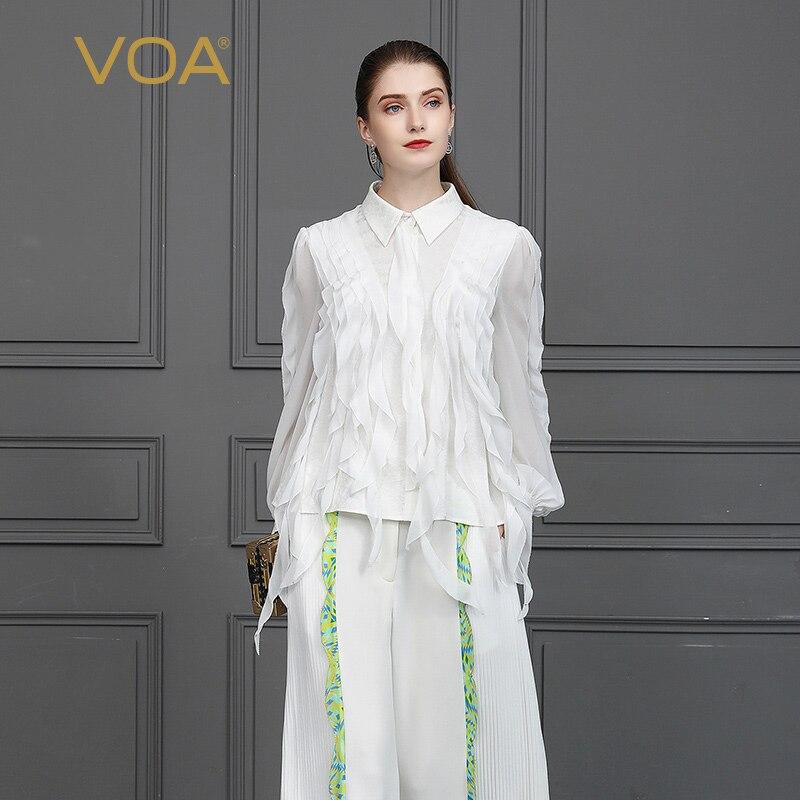 VOA soie Jacquard Blouse blanc Rococo Lolita chemise gland dames hauts doux femmes rubans vêtements automne lanterne à manches longues B822