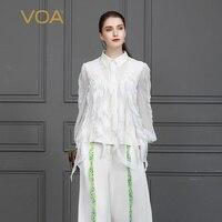 Voa шёлковый жаккардовая Блузка Белый Рококо Лолита рубашка кисточкой Дамы топы сладкий женские рюшки одежда осень Фонари с длинным рукавом