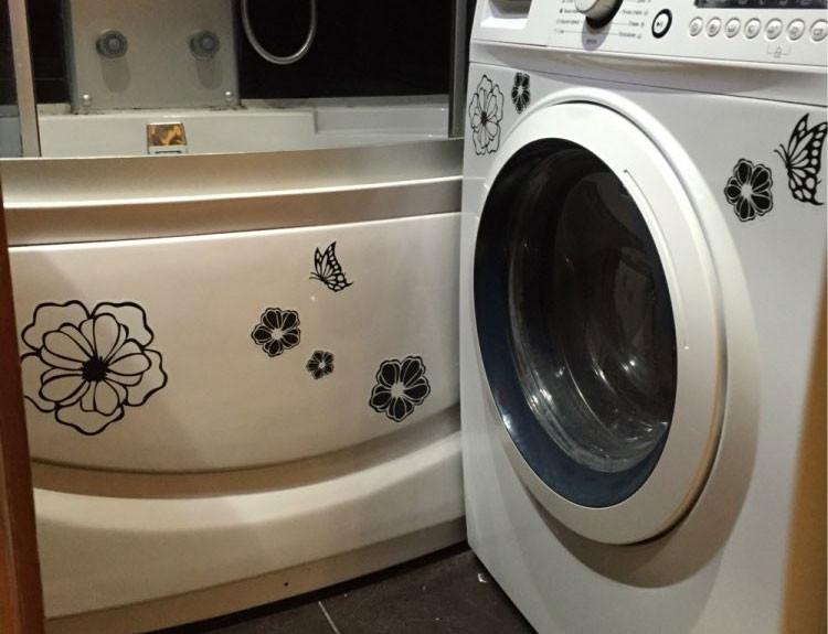 HTB1KDh5KFXXXXXdaXXXq6xXFXXX9 - High Quality Household Washing Machine Refrigerator Stickers Flowers Butterflies Wall Stickers Home Decor For Kitchen Bathroom