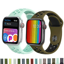 купить Silicone strap For Apple Watch band 38mm 42mm iwatch  44mm/40mm Sport bracelet Rubber watchband по цене 153.71 рублей