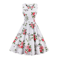 1950s Hot Vintage Women Dresses 2017 Summer 3D Floral Print Party Dress Sleeveless O Neck Tank