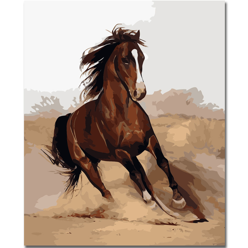 Animals DIY Oil Painting Acrylic Paint By Number Kit Digital Art Decor Cat Horse