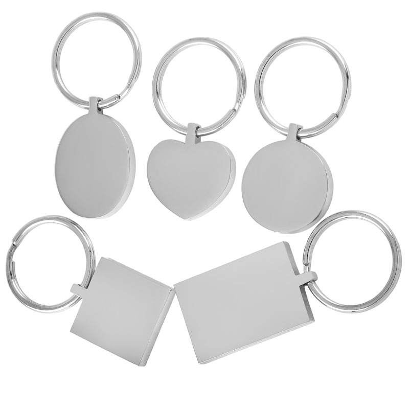 STAINLESS STEEL Silver Tone Plain Dog Tag KEY RING Heart //Long Plain //Shield Tag