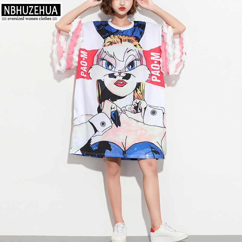 NBHUZEHUA 7G880 European Style Plus Size Women Dress 3D Print Ruffles Sleeve  Casual T Shirt Dress 8aab8c276796