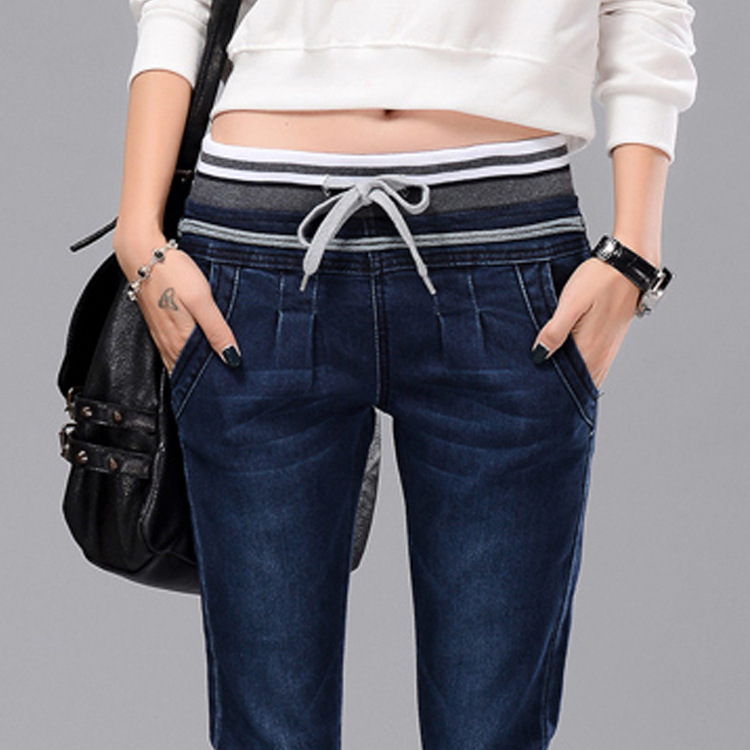 2016 Sale Rushed Dark High Waist Jeans Korean And Cashmere Thickened Elastic Waist Jeans Female Slim Feet Haren Pants Trousers