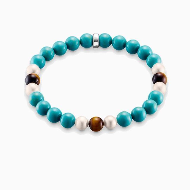 871038a79cb7 Ojo de Tigre de piedra natural granos de la turquesa pulseras elásticas  pulseras
