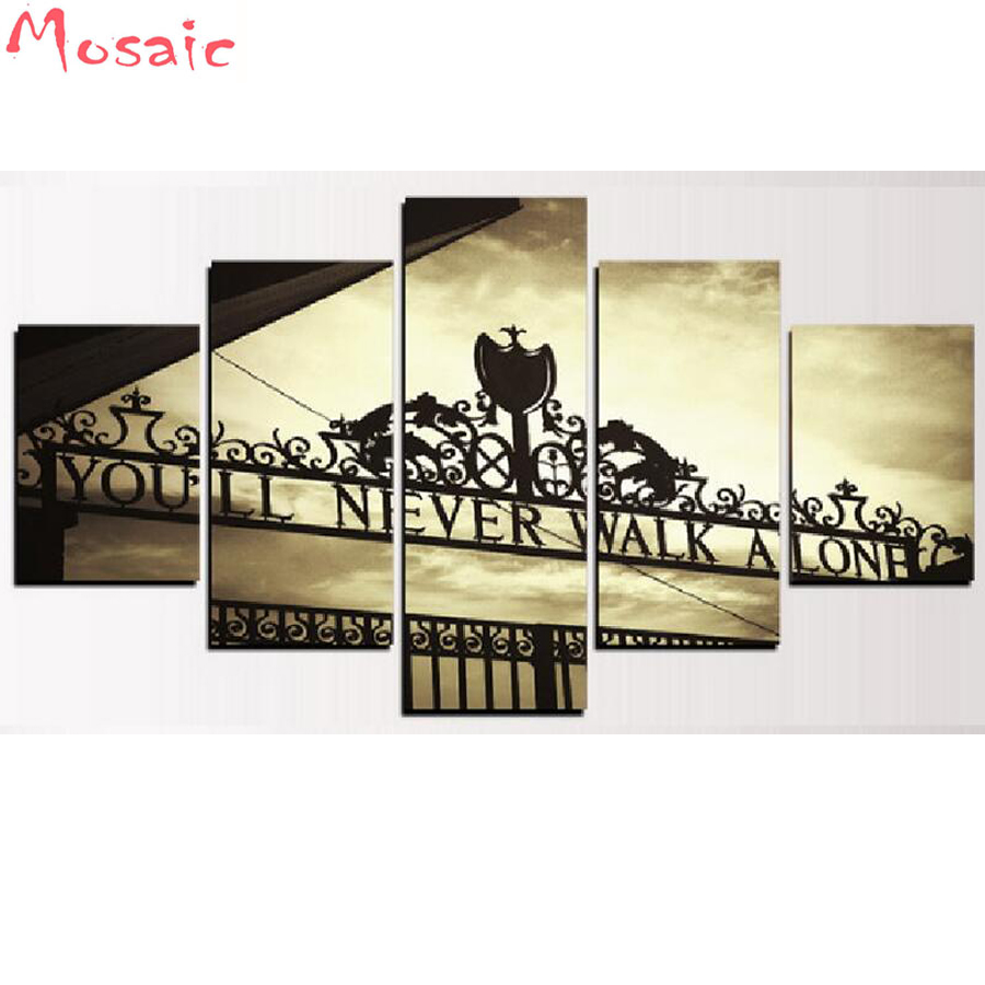 Multi pictures 5D DIY Diamond Painting 5 Panel You Will Never Walk Alone Embroidery Cross Stitch