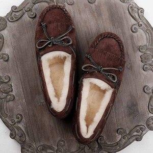 Image 3 - GRWG 100% טבעי פרווה נשים נעלי מוקסינים אמא ופרס רך אמיתי עור פנאי דירות נקבה נהיגה מקרית הנעלה