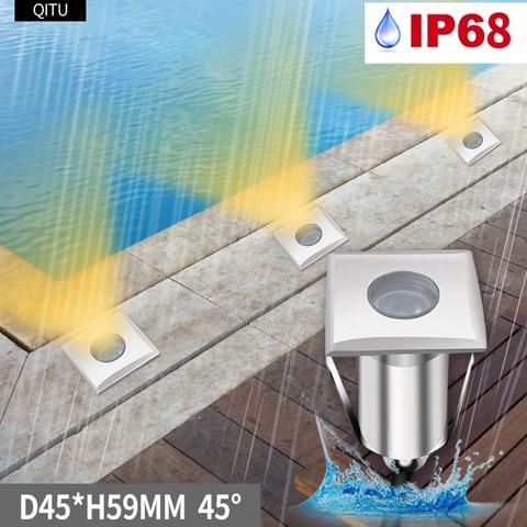 luminaria led embutida para ponto aco inoxidavel quadrado com luz subterranea 12 24v para area