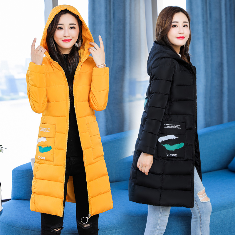 Women Parkas Coat 2018 Winter Thicken warm long jacket coat Casual hooded styled with printed outwear clothing plus size