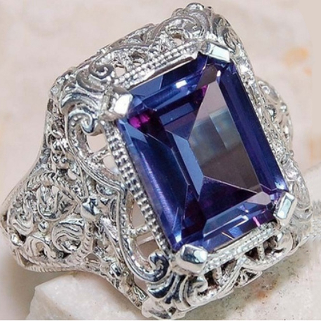 Big Blue CZ Zircon Stone Vintage Silver Rings for Women Fashion Wedding Engagement Jewelry Hot Sale