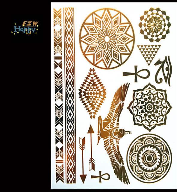 Hot Egyptische Goud Tatoo Tijdelijke Stickers Sexy Tattoo Body Art Totem Vleugel Farao Eye Fake Flash Tatoeëren