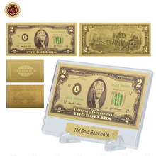WR biznes prezenty pamiątkowe amerykańskie kolorowe złoty banknot wyjątkowe prezenty bankot waluta uwaga papierowe pieniądze z stojak tanie tanio Europa Patriotyzmu Pozłacane 44*28*3mm Plastic capsule Square 24K Gold Plated Clear Plastic Case