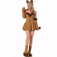 Abbille 2017 Adult Woman Halloween Carnival Costumes Sexy Catwoman Costume Cosplay Cat Brown Strapless Fancy Dress