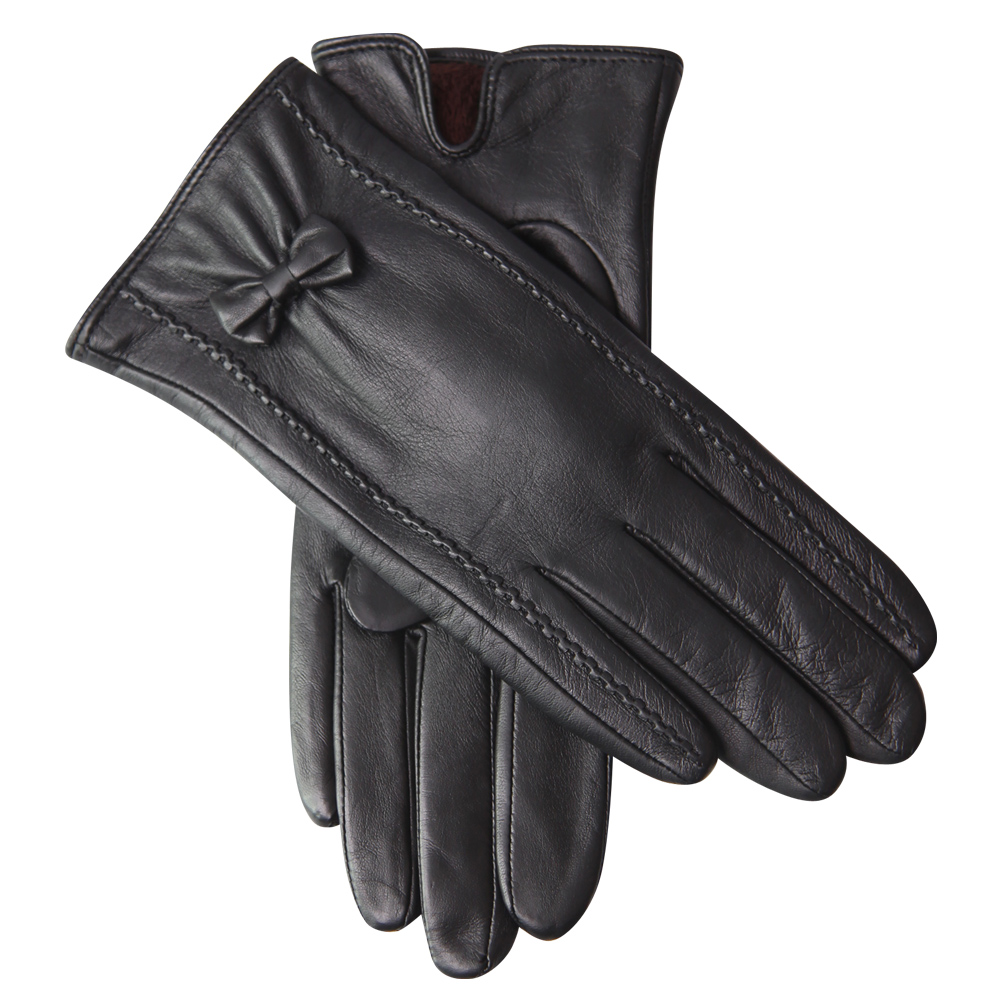 Winter Sheepskin Gloves Female Plus Velvet Thicken Butterfly Knot Driving Warm Genuine Leather Woman Gloves Touchscreen L18004NC