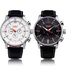 Победитель мужчины отдых механические наручные часы черный кожаный ремешок роман число суб-набор календарь круглый чехол