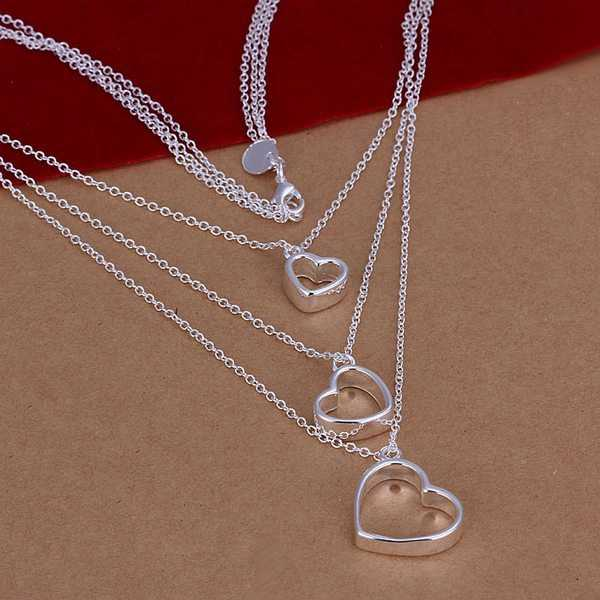wholesale fine 925-sterling-silver necklace fashion jewelry chain 3heart necklaces & pendants women men collar SN038