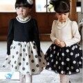 2016 Genuine Fashion Baby Girl Princess Dress Beautiful Dot Kids Lace Dresses Flower Collar Long Sleeve Kids Children's Dress