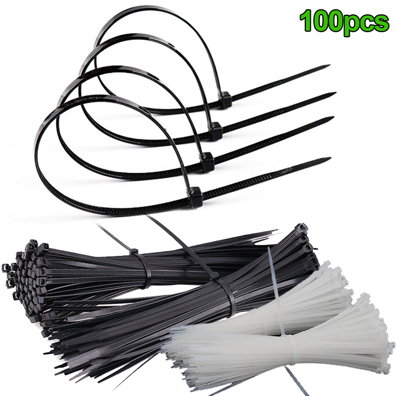 100 Pcs ABS Nylon Black White Cable Ties Zip Fasten Wire Wrap Strap Fastening Wiring Accessories Outdoor Hiking Camping Tools