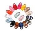 2017 Nuevo hecho a mano Mocasines Zapatos de Bebé de Cuero de la pu sólido atan para arriba Del Bebé chicas chicos Zapatos Recién Nacido primer caminante Zapatos Infantiles