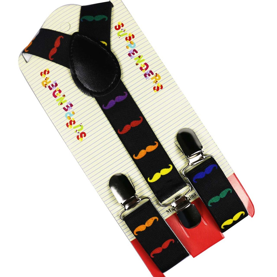 HUOBAO Fashion Children Suits Adjustable Clip-On Colorful Mustache Printing Suspender Braces For Children Boy 3 Clip Suspenders