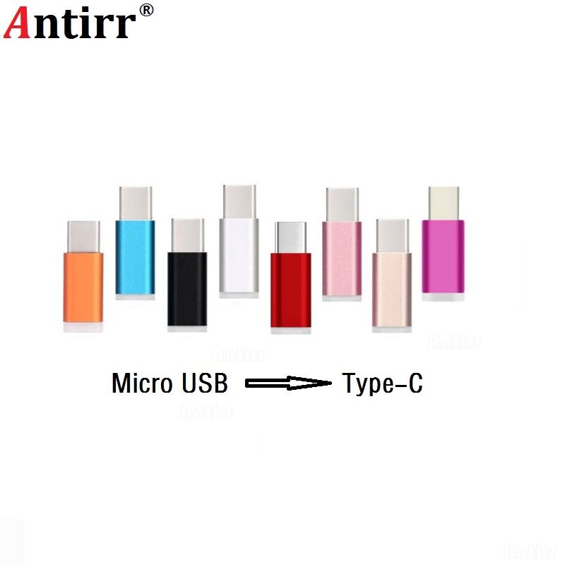 Antirr Colorful USB Type C Male Connector To Micro USB Female Converter USB-C Type-C Adapter For OnePlus 2 HTC 10 Lumia 950