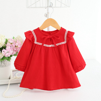 Wholesale 5pcs/lot Baby Girls Clothing Baby Shirts Girls Tops Long Sleeve Girls Autumn Cotton Christmas Baby Girl Clothes 0-2Y