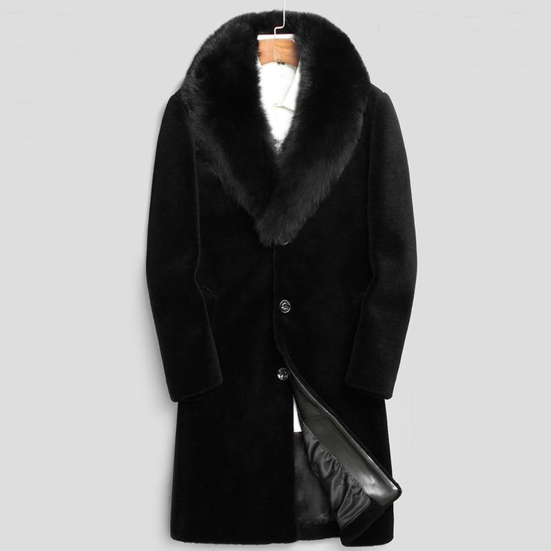 Chaqueta Moto Hombre Male Winter Autumn Black Man-Made Fur Jackets Mens Fur Collar Warm Long Section Fake Fur Outwears D361