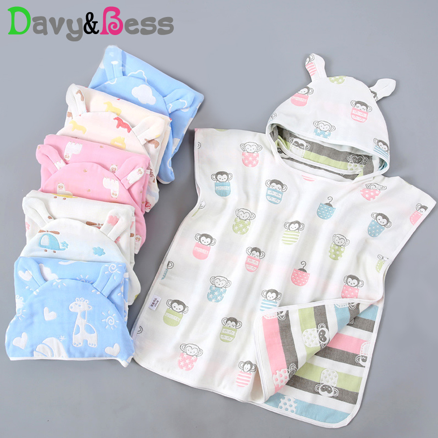 Baby Bath Towel For Newborns Child Hooded Baby Towel With Hood Muslin Baby Cotton Gauze Cloth New Born Beach Towel For Children