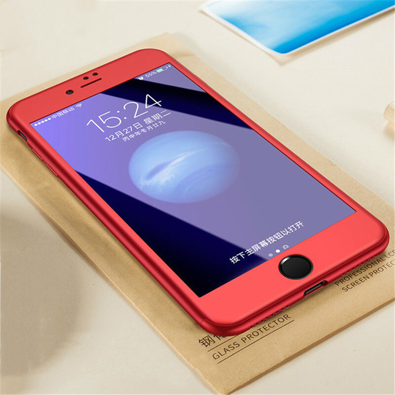 Full Cover Red Case For iPhone 6 6S 5S 5 with Tempered Glass 360 Degrees Case For iPhone 7 7 Plus 6 Capa Phone Hull Case