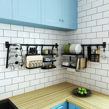 De cocina de acero inoxidable Rack colgante de pared DIY cocina estante de  la tapa de la olla condimento plato bastidores y titulares de la cocina ... 64e1e5b7edae