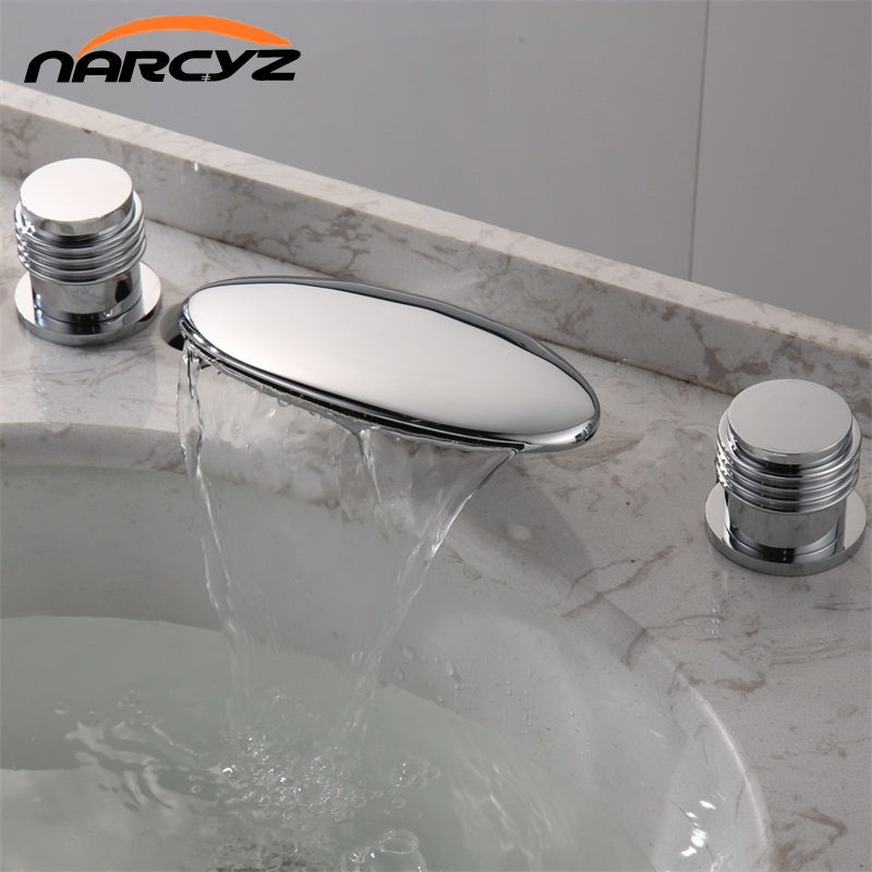 Basin Faucets Brass Chrome 3 Pcs Bathroom Sink Faucet Double Handle 3 Hole Deck Mounted Bathtub Hot and Cold Mixer Tap  XR8239Basin Faucets Brass Chrome 3 Pcs Bathroom Sink Faucet Double Handle 3 Hole Deck Mounted Bathtub Hot and Cold Mixer Tap  XR8239