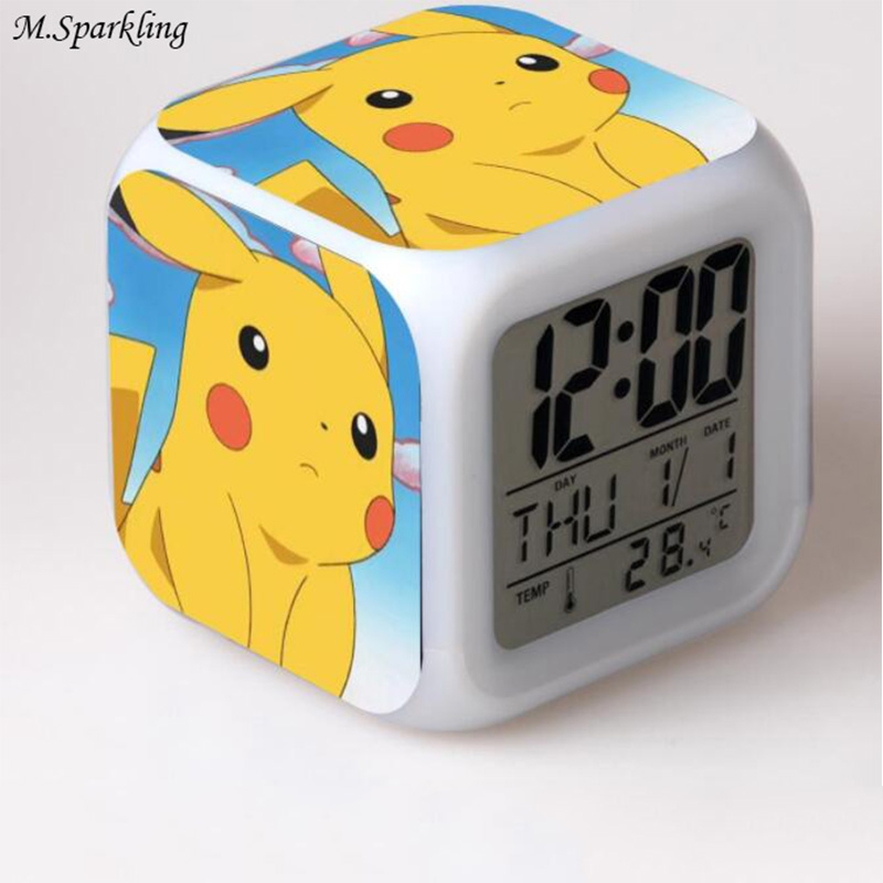 M. Funkelnden Pokemon Wecker Led Digitale Platz Schreibtisch Uhr Kinder  Cartoon 7 Farben Flash Temperatur Display Schlafzimmer Uhren