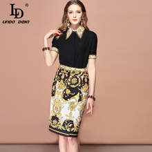 LD LINDA DELLA New 2019 Fashion Runway Summer Suits Womens Black Short Sleeve Shirt And Floral Print split Skirt Two Pieces Set