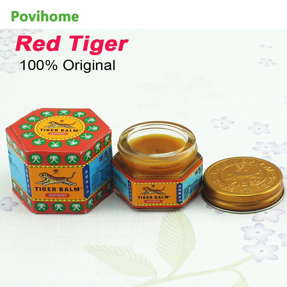 Povihome 100% Original Red Tiger Balm Ointment Pain Killer Ointment Muscle Pain Relief Ointment Soothe Itch C105 white tiger balm ointment soothe insect bites itch strength pain relieving arthritis joint massage body care oil cream l37