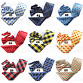 4PCS 8CM Tie Set Men Bow Tie and Handkerchief Bowtie Cufflinks Necktie 100% Silk Ties For Business Wedding Party Papillon