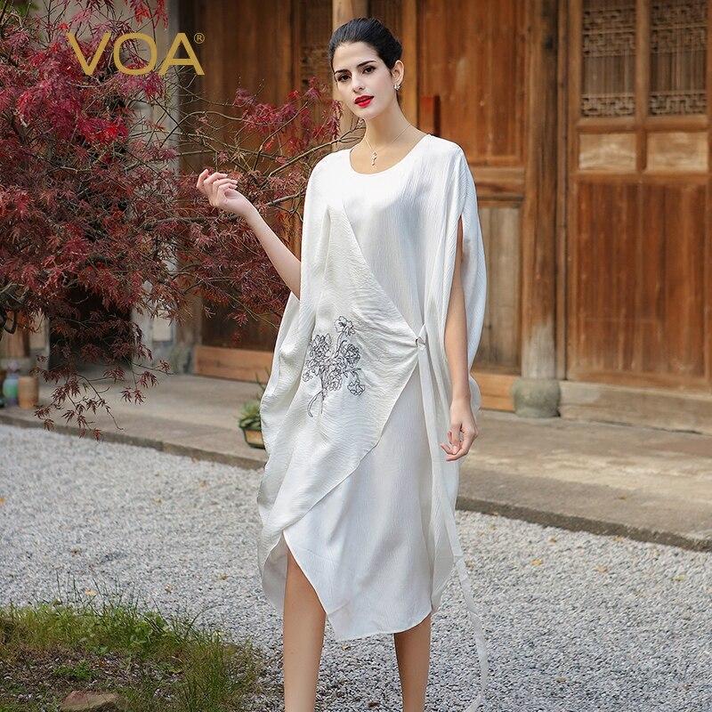 VOA Silk Plus Size Loose Embroidery Casual Dress Women Short  Sleeve Cloak Sleeve White Fake Two Set Belt Muslim Robe Fall  A7520muslim robecasual dress womencasual dress