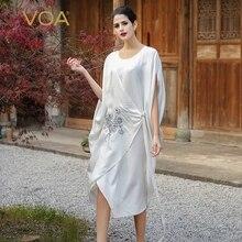 VOA Silk White Casual Dresses Women Short Sleeve Embroidery Knee-Length Cloak Sleeves O-Neck Plus Size Vestidos Female A7520