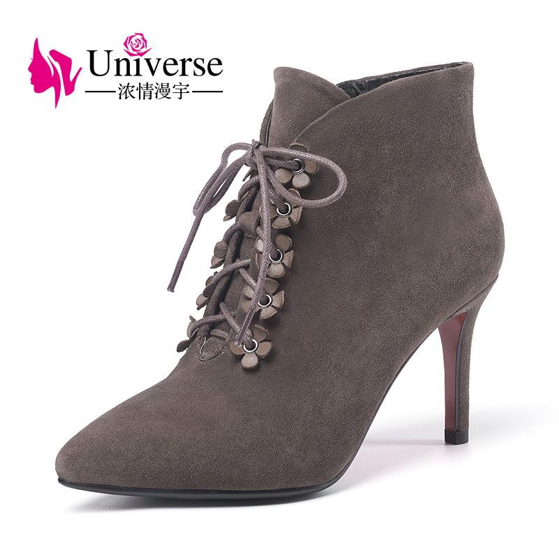 Universe 2017 Spring Autumn Women Ankle Boots Female High Heels Lace Up Leather Shoes Woman Fashion Shoes G328 front lace up casual ankle boots autumn vintage brown new booties flat genuine leather suede shoes round toe fall female fashion