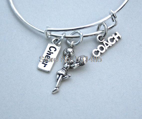 Cheer Charm Bracelets: 12pcs Cheerleader Charm Bangle Cheer Bracelet Cheerleader
