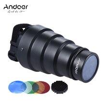 Andoer Konik Snoot Işık Değiştirici w/50 Derece Petek Neewer için Renk Filtre Canon Nikon Fotoğraf On-kamera Speedlite